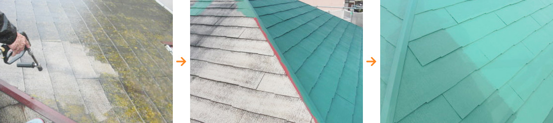 福岡市内での屋根塗装の一例