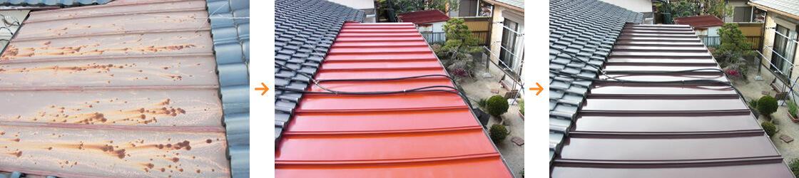 福岡市内での屋根鉄部塗装の一例