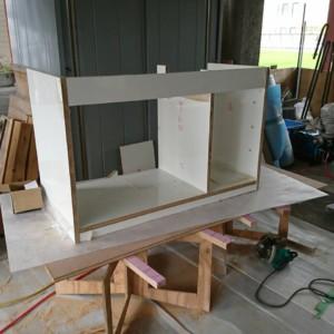 西区漆喰工事 洗面造作工事完了しました